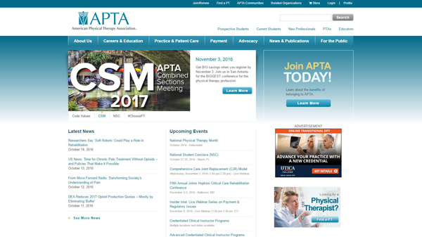 Governing body APTA one of the best physical therapy student blog