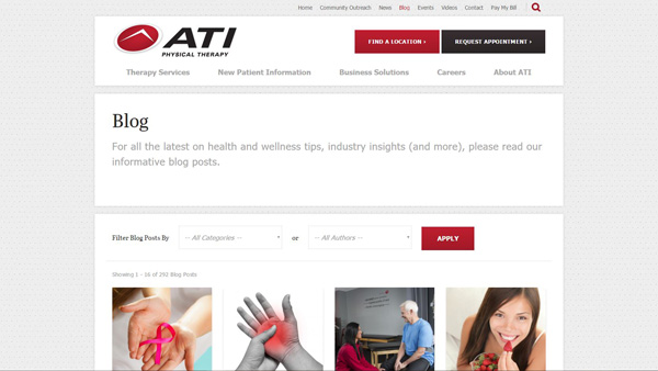 ATI is a PT student blog. Screenshot of the homepage
